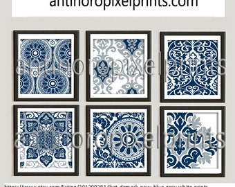 Ikat Damask Navy Blue Grey White Prints, Set of (6) Wall Art Prints, Custom Colors Sizes Available, Custom Colors Available