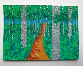 "Twilight Woods #180 (ARTIST TRADING CARDS) 2.5"" x 3.5"" cards by Mike Kraus"