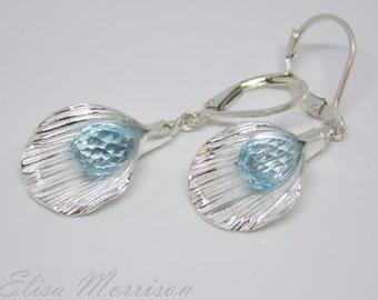 Swiss blue TOPAZ sterling silver calla lily EARRINGS faceted gem stone teardrop