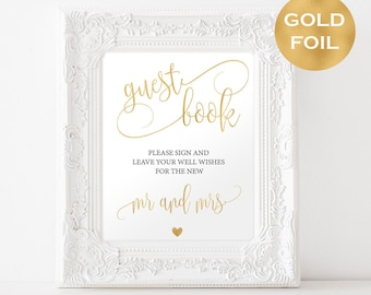 Guest Book Gold Foil Wedding Sign - Reception Signage - Gold Foil Guest Book Printable - Guest book sign printable in gold foil - #WDH304_10