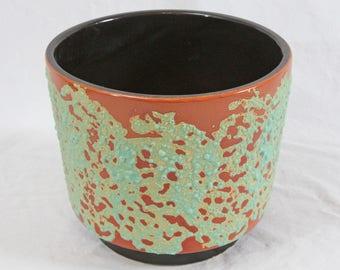 "Vintage Fat Lava Glaze Pottery Planter 8"" Mid Century Modern Turquoise Orange"