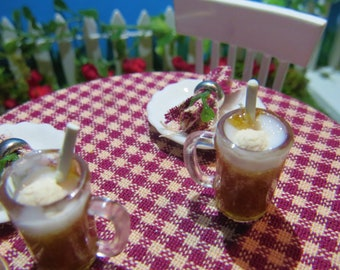 Rootbeer Floats in Mugs with Straws 1:12 Dollhouse Miniature Drink Fairy Garden