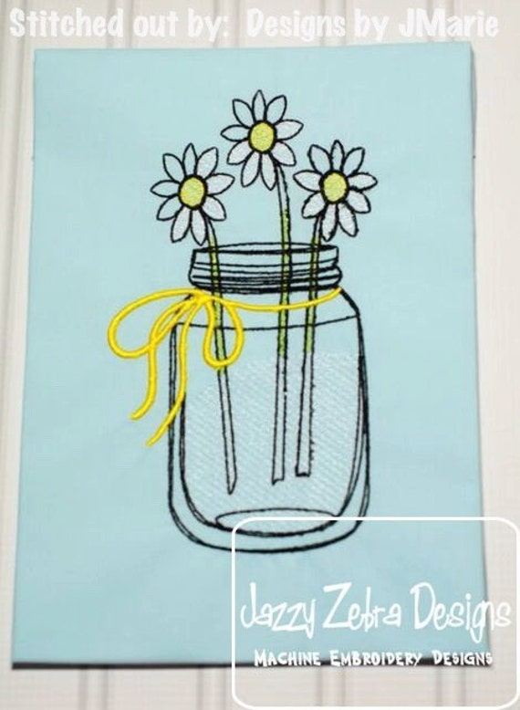 Daisies in Mason Jar Sketch Embroidery Design - flowers Sketch Embroidery Design - daisy Sketch Embroidery Design - vintage embroidery