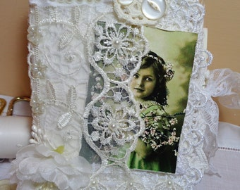 Doilies and lace  covered  Romantic Vintage Shabby Chic Junk Journal