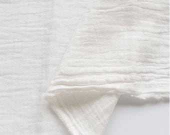 "White Wrinkled Cotton Gauze, Double Gauze, White Gauze, Crinkle Gauze, Yoryu Gauze - 59"" Wide - By the Yard 95357"