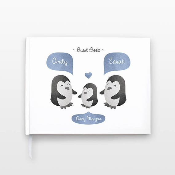 PENGUIN Baby Shower Guest Book, Personalized Baby Book, Animal Baby Guestbook, New Baby Gift, Baby Journal, Baby Notebook, Baby Guest Book