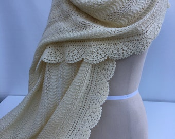 Off White Hand Knit and Crochet Shawl