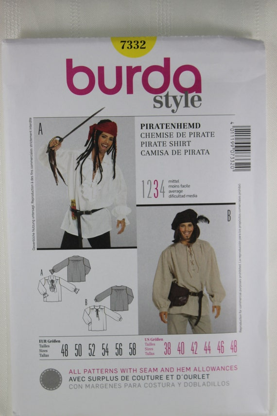 Burda 7332 Kostüm-Schnittmuster Schnittmuster für