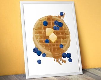 "Blueberry Waffle Food Illustration - 11""x14"" Art Print"