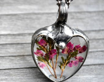 Gift for Daughter, Heart Necklace, Real Dry Pressed Flowers, Daughter Gift from Mom, Flower Heart, Terrarium Necklace, Heart Gift  (2495)