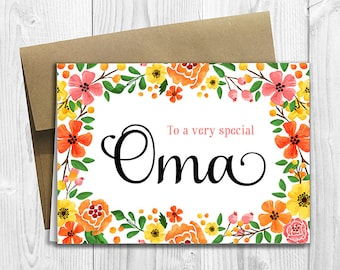 To a very special Oma - Mother's Day / Birthday / Any Occasion -  5x7 PRINTED Greeting Card - Spring Flowers Floral Notecard