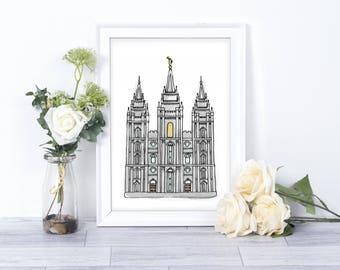 Salt Lake City Temple Watercolor// Printables // LDS