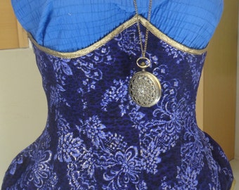 Lilac Brocade Spotted Steampunk Hourglass Underbust SIZE 6