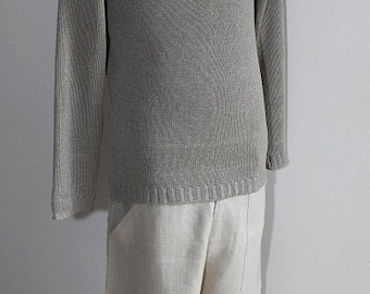 100% Linen knitted Sweater for Men!Handmade Natural High-quality Breathable Comfortable Men's fashion Size(S,M,L,XL) Unique Cosy Stylish