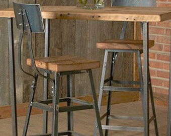 "Counter Height Barn Wood Stool with steel back (1) 25"" counter height stool with back.  Your choice of wood finish and stool height."
