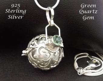 Sterling Silver Harmony Ball with Green Quartz Gem & Silver Chime Ball in 925 Silver Cage | Bola Necklace, Pregnancy Gift, Angel Caller 883
