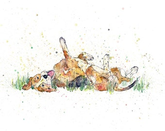 Beagle art, beagle PRINT, unique dog art, watercolour and pen painting, dog rolling, gifts for dog lovers, beagle gifts, colourful dog art