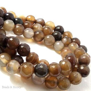 Fired Agate Bead, 8mm, Dark/Light Brown, Coffee Brown, Round, Faceted, Gemstone Beads, 15 Inch Strand - ID 2269