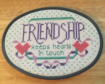 Handmade finished counted cross stitch Friendship wall hanging