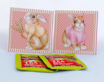 Digital Printable Easter Tea Bag Wrappers - Tea Bag Envelopes -Bunny Tea Bag Envelope