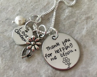 Thank you for helping me bloom helping me for personalized teacher necklace hand stamped customized jewelry teacher appreciation
