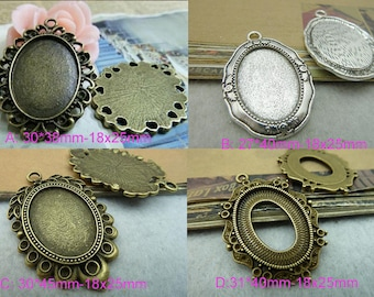 10pcs  Settings inner 18x25mm  Cameo Cabochon charm pendants