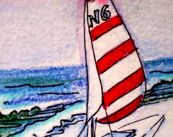 ACEO print Sailboat on sand red and white sails on card stock