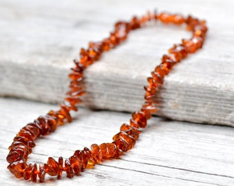 Polished Baltic amber necklace for women