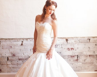 Bubble Hem Wedding Dress with Alencon Lace Bodice and Eyelash Fringe - Lady Jane