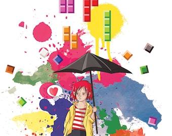 Tetris Girl print