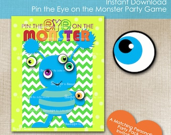 Instant Download Pin the Eye on the Monster Party Game, Part of the Monster Bash Collection