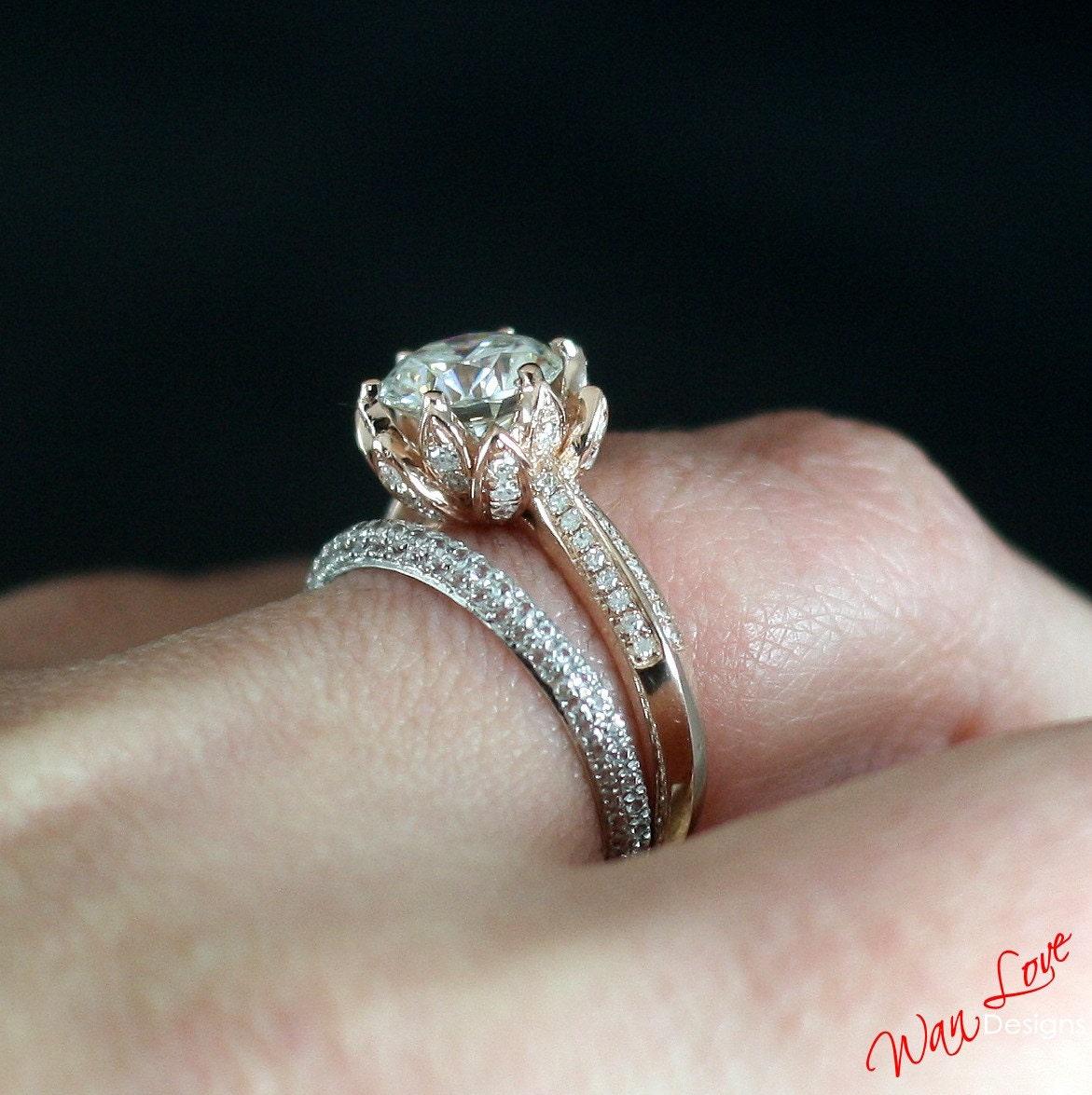 Forever one moissanite diamond lotus flower engagement ring zoom izmirmasajfo Choice Image