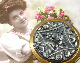 SALE 1800s Antique BUTTON pendant, Victorian floral design in brass. Present, gift.