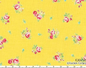 Flower Sugar 2013 by Lecien  PinkYellow  Roses on blue  30750-50 Cotton Fabric