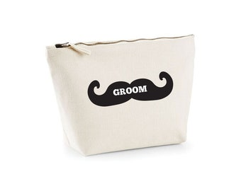 Groom's Wash Bag, Wedding Gift for GROOM, MUSTACHE Bag, Moustache Wash Bag for men, Wedding Groom Gift from Bride, Gift bag