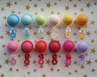 Ten (10) EOS Lip Balm Baby Shower/Sprinkle Favor Cut Outs ONLY- Rattle
