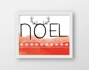 Noel Art Print - Christmas Art - Holiday Decor - Holiday Card