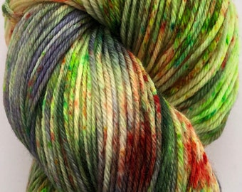A fun and cheerful hand dyed yarn on a beautifully soft merino, cashmere nylon base in shades of green, purple and orange.