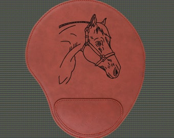 Engraved Leatherette Mouse Pad - Horse Designs