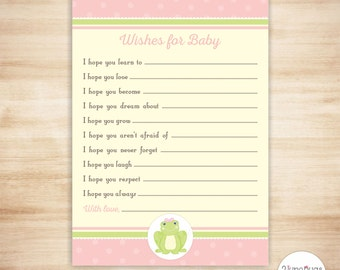 Pink Frog Wishes for Baby Advice Cards - Girl Baby Shower Wish Cards - Spring Baby Shower - Pink Yellow Green - PRINTABLE, INSTANT DOWNLOAD