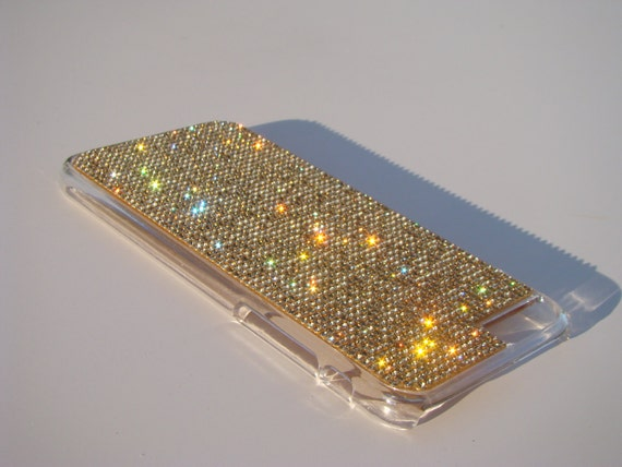 """iPhone 6 / 6s 4.7"""" Gold Topaz Rhinstone Crystals on Transparent Clear Case. Velvet/Silk Pouch Included, Genuine Rangsee Crystal Cases."""