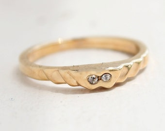 Vintage Band Ring 18k Yellow Gold Electroplated Stacking Ring Clear Swarovski Crystals Made in USA #R3836