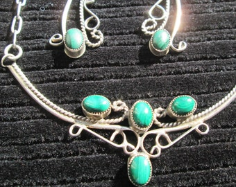 Vintage Malachite and Sterling Earrings and Necklace