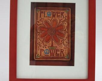 Flower Power - Ceramic Art Tile (framed)
