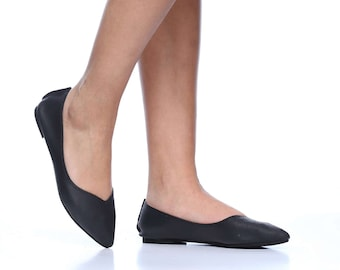 Black Michal Pointed Toe Leather Flats, Handmade Leather Flats, Women's Leather Flat Shoes, Women Slip On Flats