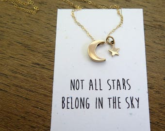 Crescent Moon Necklace, Gold Crescent Moon Necklace, Birthday Gift For Best Friend, Gold Necklace, Moon Jewelry, Gold Moon, Gift For Her