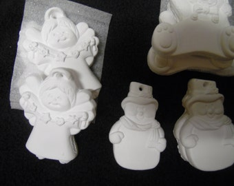Colorbok/ plaster Christmas lot of 15 ornaments/ ready to paint/ Christmas ornaments