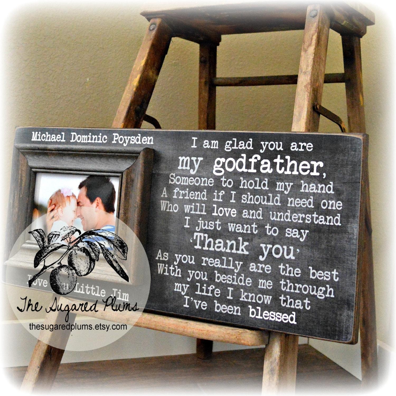 Godfather Gift Godfather Frame Baptism Gift for Godparents