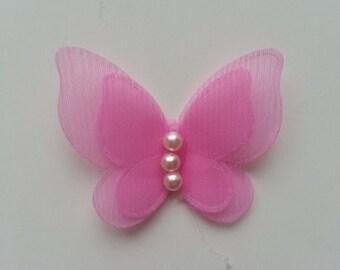 applique double papillon  voile  et perle rose pale  45mm