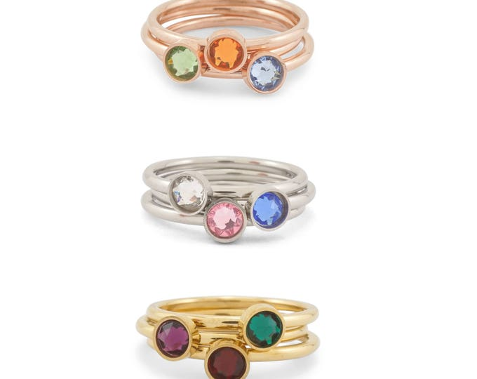 Birthstone Stacking Rings - Mothers Rings - Grandmother Ring - Gift for Mothers Day - Mothers Day Present -